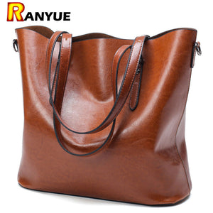 Handbag PU Oil Wax Leather Bag. Large Capacity Tote Bag