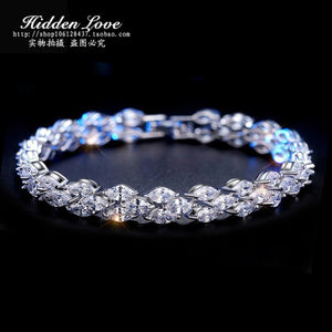 Hot sale Luxury Jewelry 17&19cm 925 silver AAA cubic zirconia Wedding Women Bracelet gift