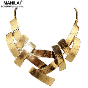 Vintage Bib Choker Necklace Women Cross Metal Pendant Snake Chain Maxi Collar