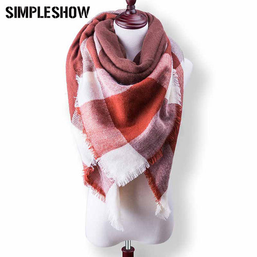 New Style Fashion Wool Winter Scarf For Women Scarf Warm Plaid Thick Shawls