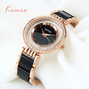 Ultra slime ladies Crystal watch, Black Ceramics Gold. Rhinestone Diamond Watch