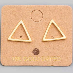 """gold dipped triangle"" earrings"