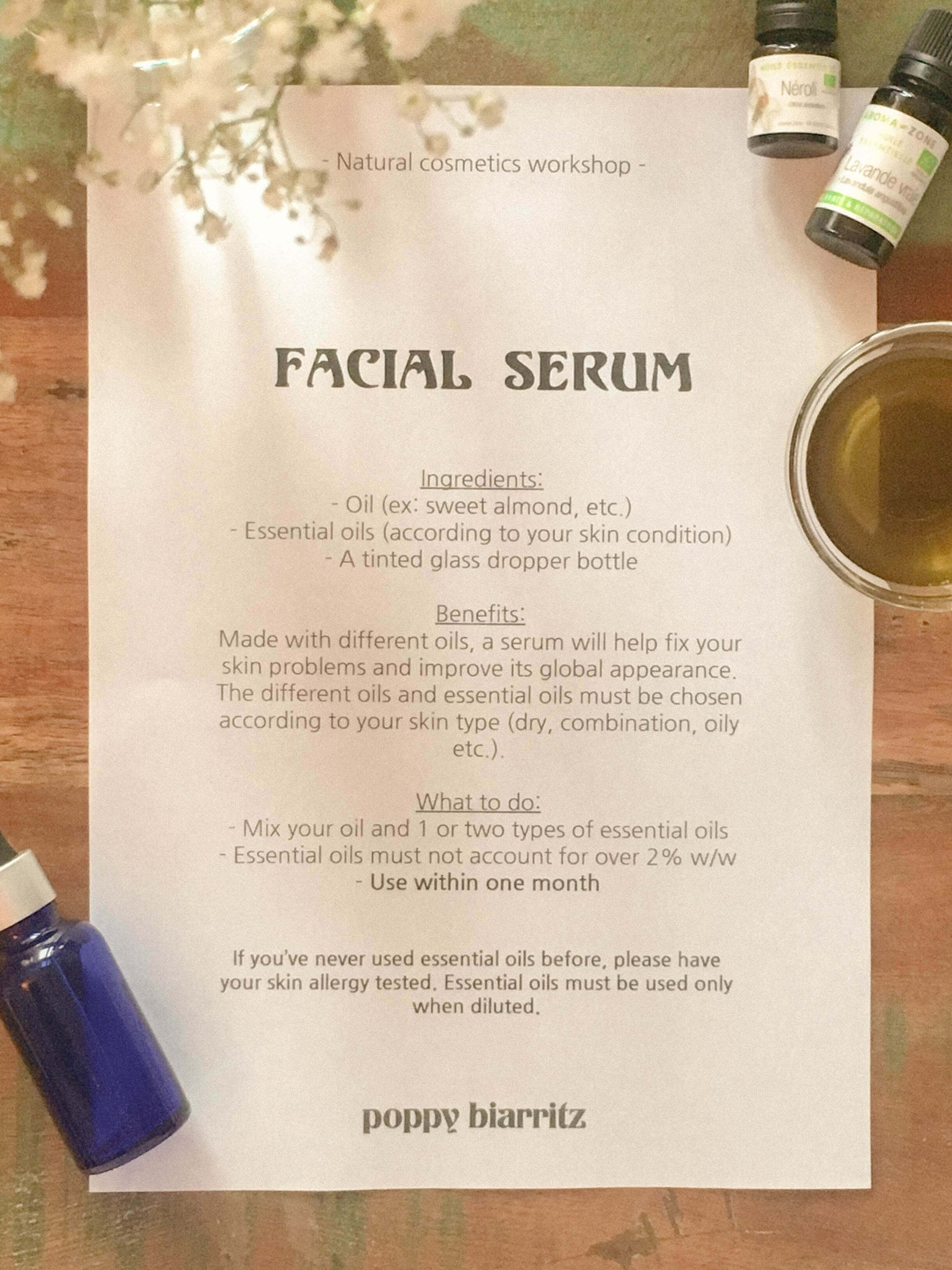 natural cosmetics facial serum recipe