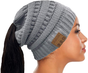 Ponytail Beanie Winter Hat Upgraded with Bluetooth 5.0v Wireless Headsets