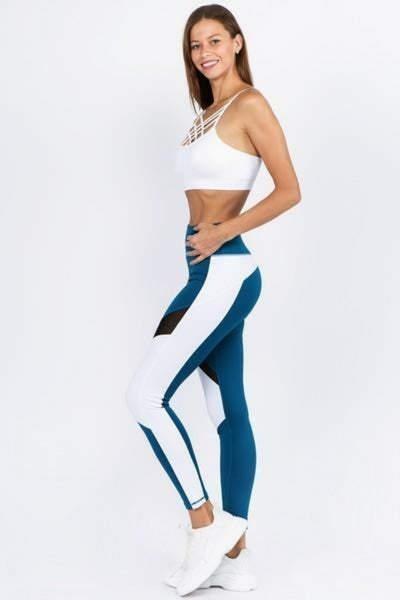 Women's Active High Rise Colorblock Mesh Workout Legging with Pockets