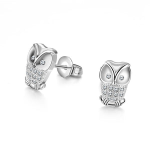 Swarovski Elements Pav'e Owl Studs in 18K White Gold