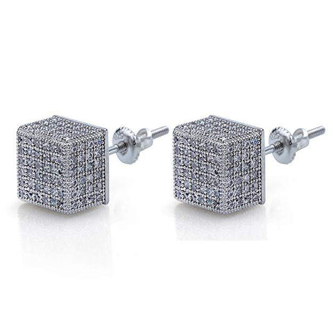 3D Cubed White Swarovski Elements Stud Earrings in 18K White Gold
