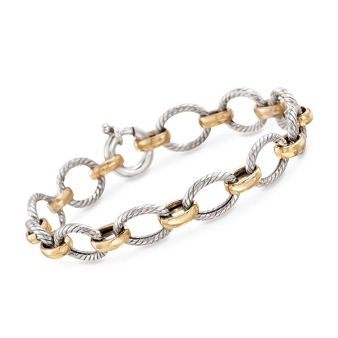Gold and Silver Links Bracelet in 18K Gold Plated