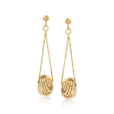 Mesh Twist Drop Earring in 18K Gold Plated