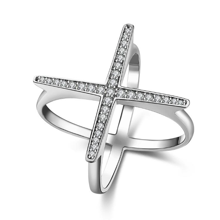 Swarovski Elements Criss-Cross Statement Ring Set in White Gold