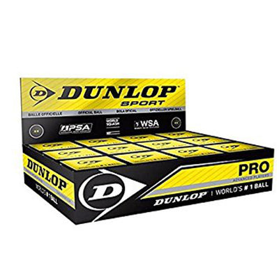 1 Dozen Dunlop Double Yellow Dot Pro Squash Balls