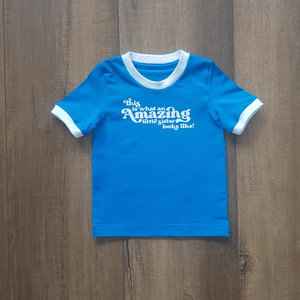 Magnificent Me Ringer Tee in Bright Blue