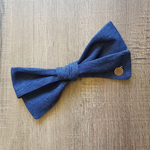 Large Hand Tied Bow in Denim