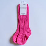 Hot Pink Cable Knit Knee Highs
