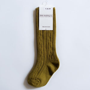 Bright Olive Cable Knit Knee High Socks
