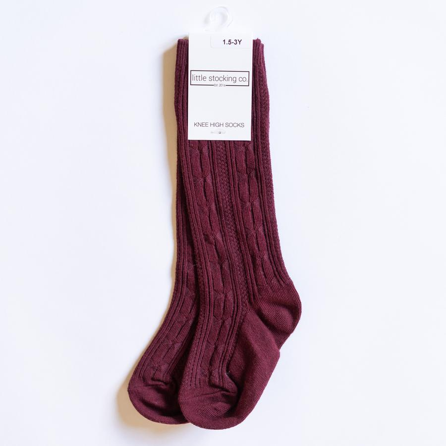 Wine Cable Knit Knee High Socks