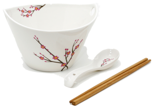 Ramen Soup Bowl Set of 1 - Chopsticks Hooked Spoon White with Japanese Apricot  sc 1 th 189 & Umami Tableware - Affordable Elegant Asian Tableware
