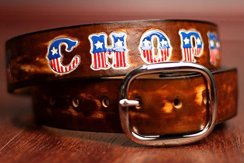 Custom Leather Belt with American Flag Letters