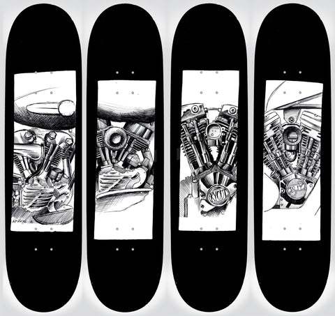Full Set Harley Black Flag Decks- Black