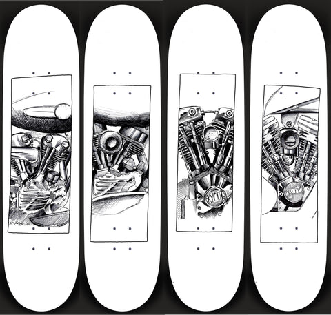 Full Set Harley Black Flag Decks- White