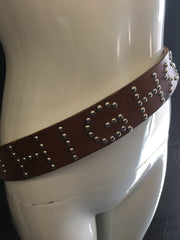 Custom Leather Studded Letter Belt