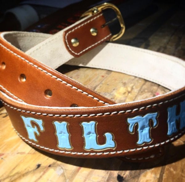 Custom Leather Stitched Belt w/ Suede Back