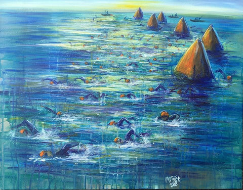 Open Water Swim 001 - Original Painting