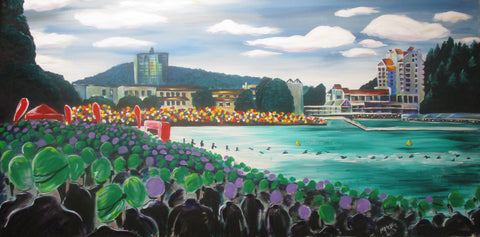 Coeur d-Alene Swim Start - Original Painting
