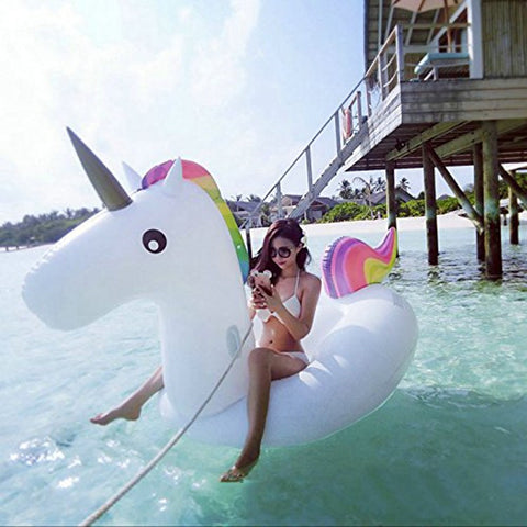 200cm Giant Unicorn Inflatable Swimming Pool Float