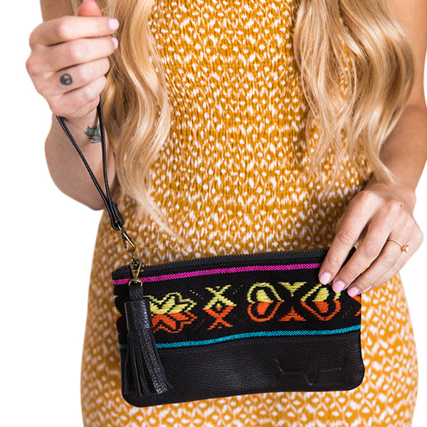 MINI CLUTCH- BLACK PATTERN - Frankie Cameron