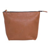 Light brown leather clutch.  Top zipper.