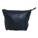 Black leather clutch.  Top zipper.
