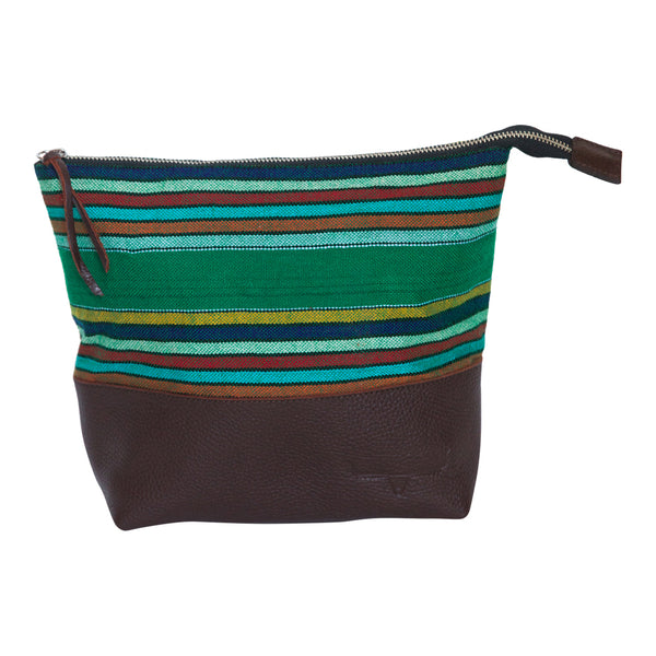 Striped green with brown leather clutch. Horizontal stripes.  Top zipper.
