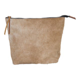 Light brown and white cowhide clutch.  Top zipper.
