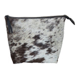 Speckled black and white cowhide clutch.  Top zipper.