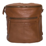 Front view light brown leather backpack.  Two  front and side exterior pockets. Front and top zipper .
