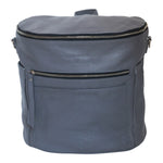 Gray leather backpack. Front view.    Two  front and side exterior pockets. Front and top zipper.