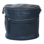 Navy leather backpack.  Front view.  Two  front and side exterior pockets. Front and top zipper.