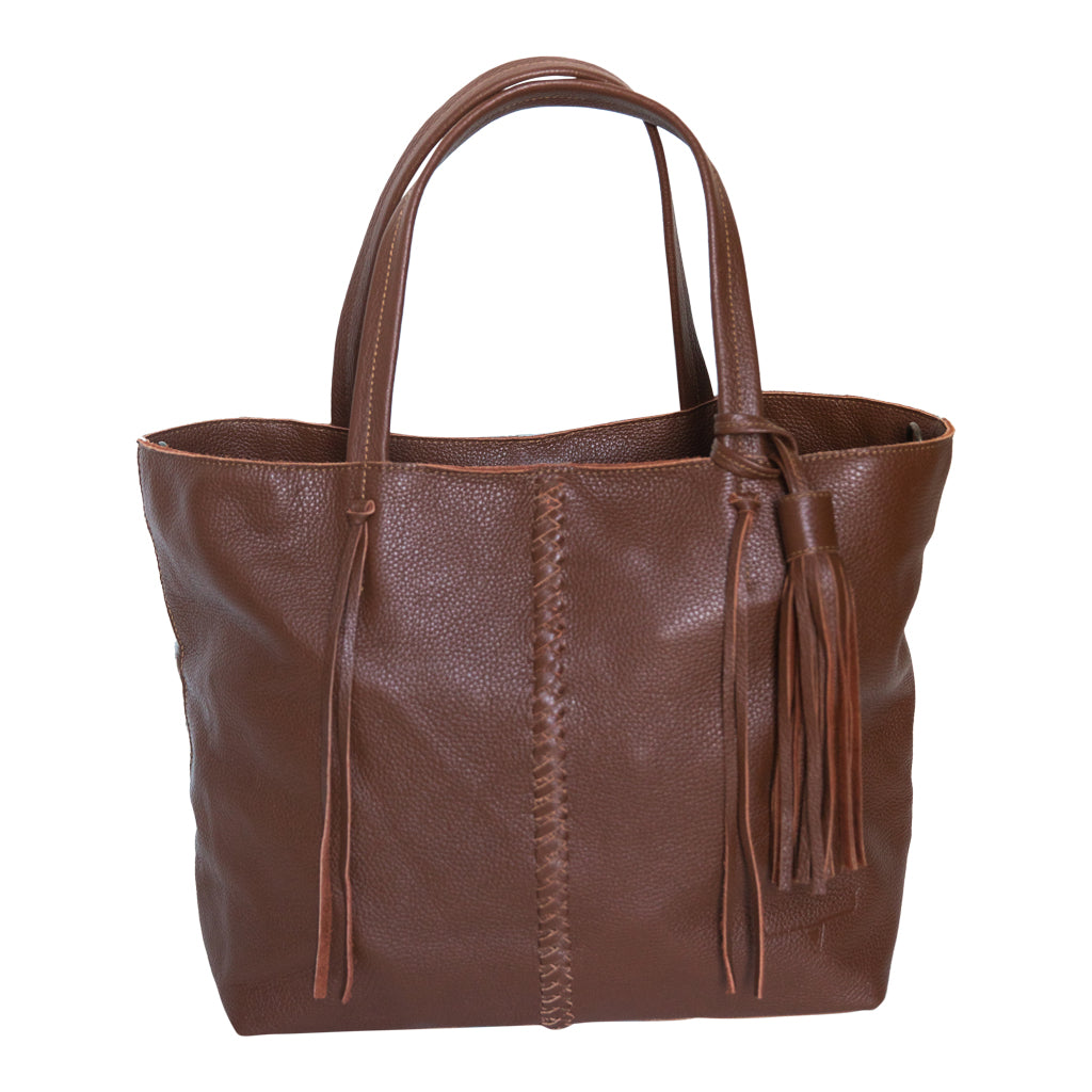 Brown leather handbag with handles.  Front view.  Braided brown leather strip down middle of bag.  Removable brown leather tassel.