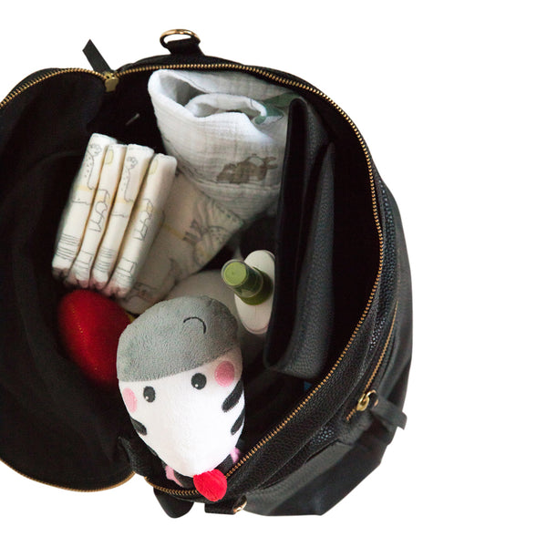 Baby liner with black backpack
