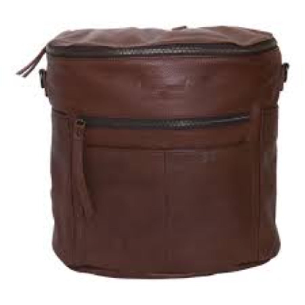 Brown leather backpack.  Front view.   Two  front and side exterior pockets. Front and top zipper. .Two  front and side exterior pockets. Front and top zipper .