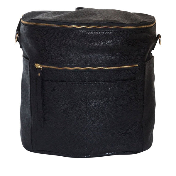 Black  leather backpack.   Two  front and side exterior pockets. Front and top zipper .