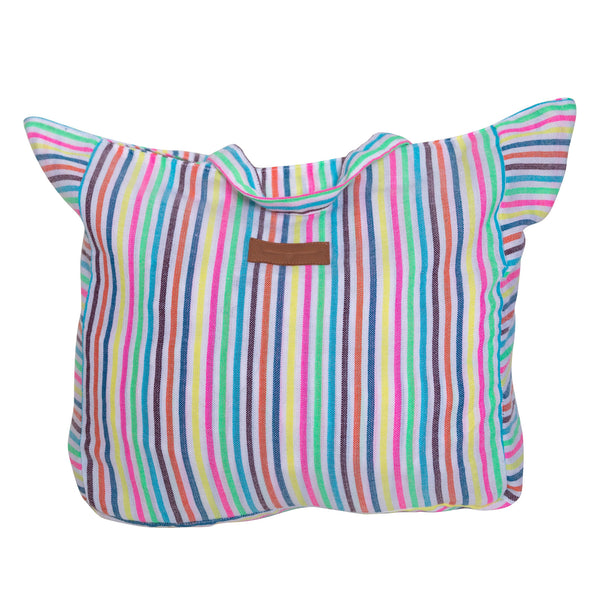 Beach bag with multi colored vertical stripes. Custom fabric with handle and zipper at top.
