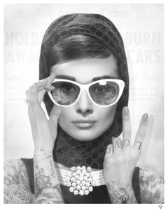 Peace, Love & Audrey (Black And White) by JJ Adams
