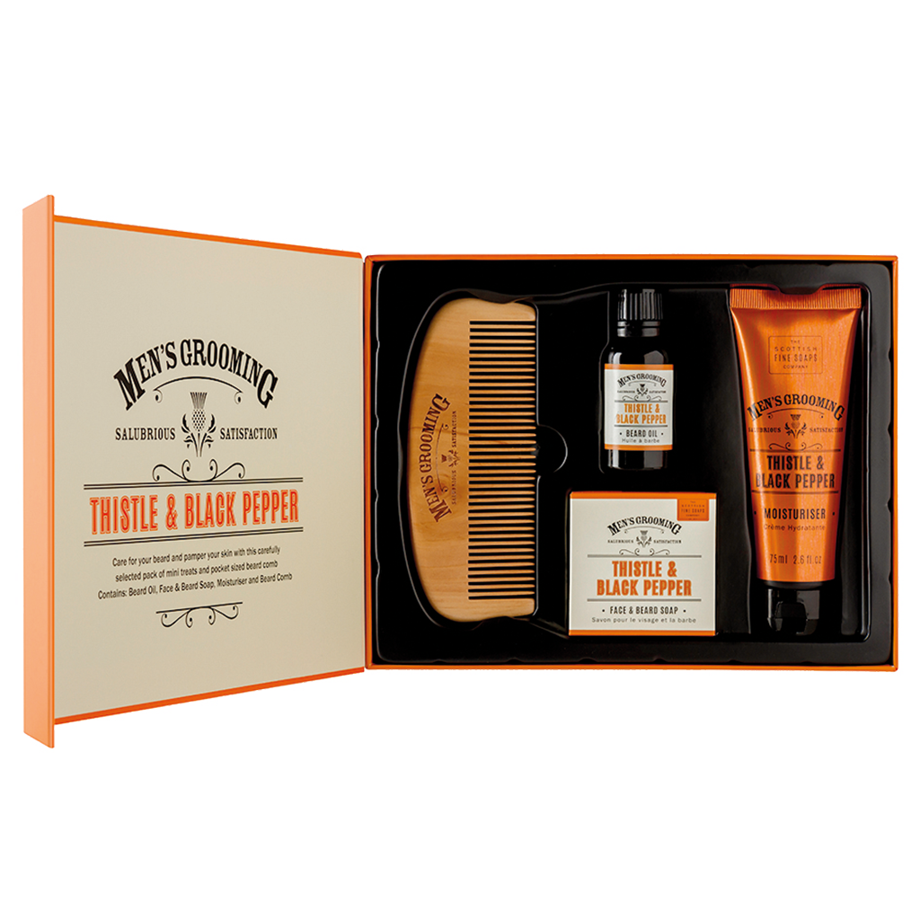 Thistle & Black Pepper Face & Beard Kit by The Scottish Fine Soaps Company