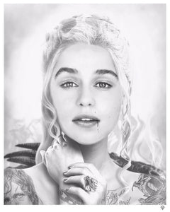 Fire and Blood - Daenerys Targaryen Black and White by JJ Adams