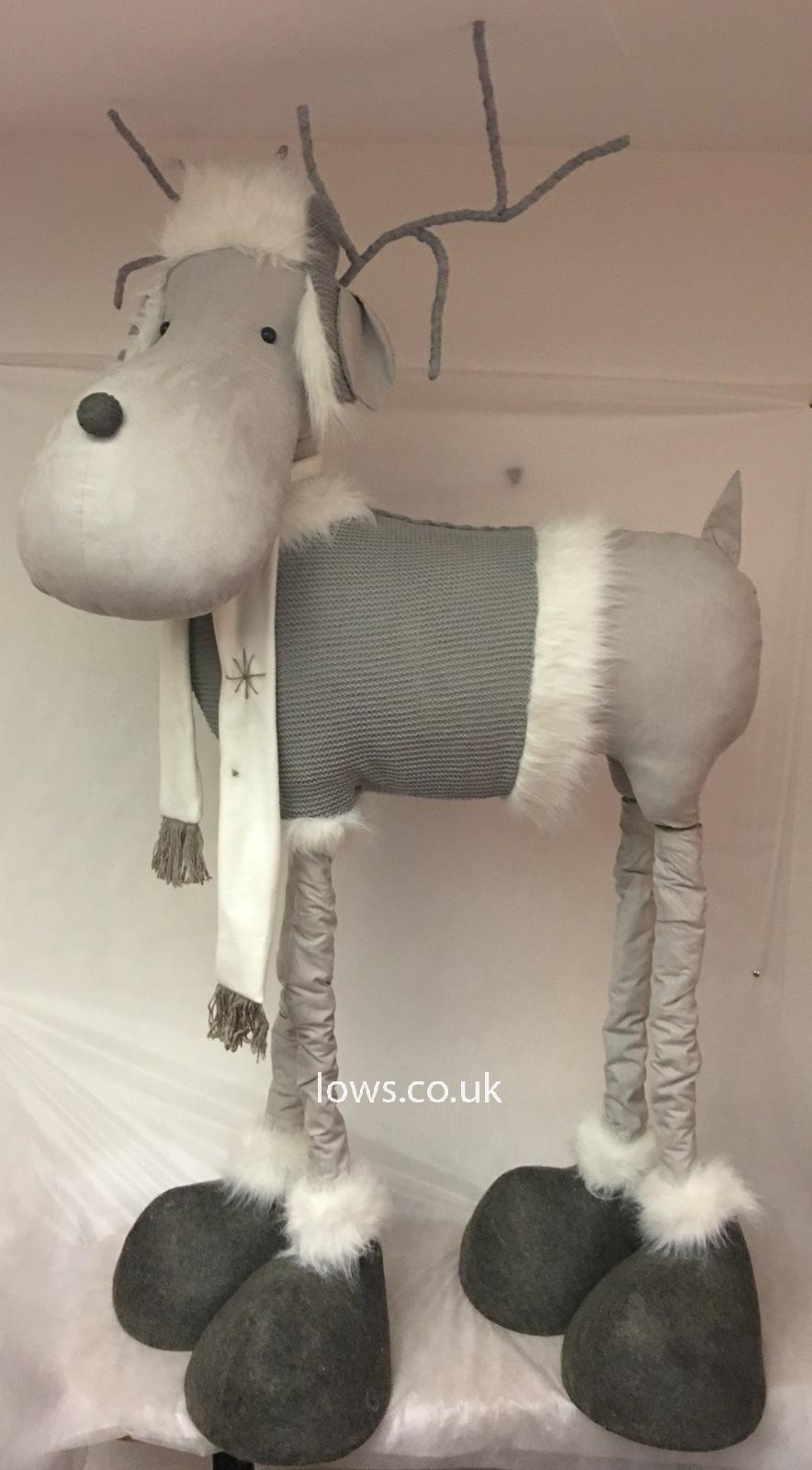 Giant Standing Grey Reindeer with Fur Trimmed Accessories by Lows
