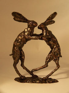 Boxing Hares Sculpture by Paul Jenkins
