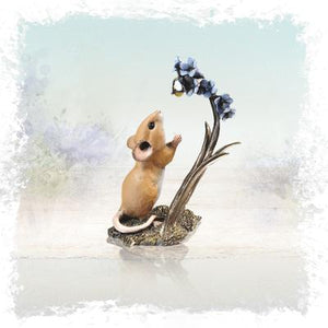 Mouse with Bluebell & Bee Bronze Resin Sculpture by Richard Cooper Studios
