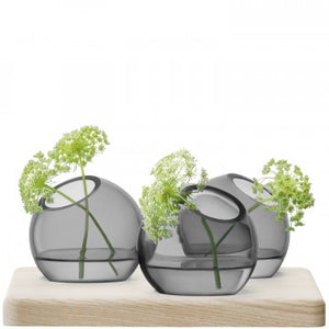 Axis Vase Trio and Ash Base 8cm Tall Grey - LSA